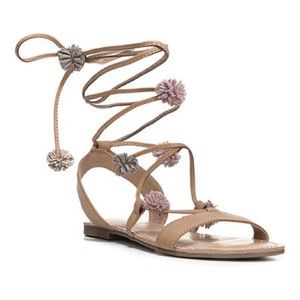 Lace Up Sandals With Pom Poms